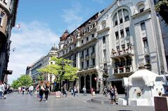 Belgrade's pedestrianized main street Knez Mihailova is packed with historic buildings, sidewalk cafes and international-brand shopping.