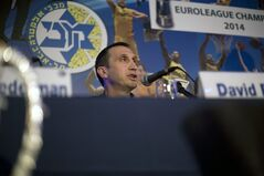 Maccabi Tel Aviv's head coach David Blatt speaks in a news conference in Tel Aviv, Israel,Thursday, June 12, 2014. David Blatt has stepped down as coach of European club champion Maccabi Tel Aviv to pursue a job in the NBA. Blatt told a news conference on Thursday he wanted to fulfil his