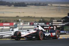 Will Power leads the way on turn three during an IndyCar series auto race, Sunday, Aug. 24, 2014, in Sonoma, Calif. (AP Photo/Elijah Nouvelage)