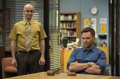 This photo released by NVC shows, Jim Rash, left, as Dean Pelton, and Joel McHale as Jeff Winger, in a scene from season 5 of