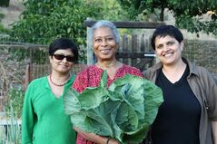 This photo released by PBS shows Alice Walker, center, with director Pratibha Parmar, left, and producer Shaheen Haq of American Masters
