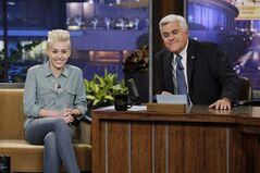 This Jan. 30, 2014, photo provided by NBC shows Miley Cyrus, left, during an interview with host Jay Leno, on