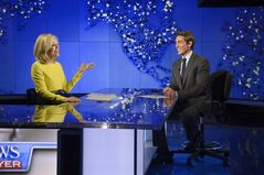 In this Wed., Aug. 27, 2014 photo provided by ABC, Diane Sawyer, left, signs off on her last broadcast as anchor of