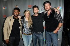 From left, Usher, Shakira, Adam Levine, and Blake Shelton arrive at