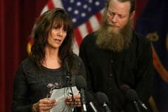 Jani and Bob Bergdahl, the parents of U.S. Army Sgt. Bowe Bergdahl, speak during a press conference at Gowen Field on Sunday, June 1, 2014, in Boise, Idaho. The father of an American soldier just released from captivity in Afghanistan said Sunday that he is proud of how far his son, Sgt. Bowe Bergdahl, was willing to go to help the Afghan people. (AP Photo/Times-News, Ashley Smith)