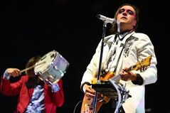Arcade Fire performs at the 2014 Coachella Music and Arts Festival on Sunday, April 20, 2014, in Indio, Calif. Past winners Arcade Fire and Owen Pallett have been named to the long list for this year's Polaris Music Prize. THE CANADIAN PRESS/AP-Zach Cordner