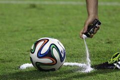 A referee uses vanishing spray during a referee's training session in Rio de Janeiro, Brazil on June 6, 2014. THE CANADIAN PRESS/AP, Hassan Ammar