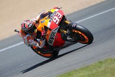 Repsol sponsored team rider Marc Marquez rounds a bend in Le Mans, France, on May 16, 2014. THE CANADIAN PRESS/AP, David Vincent
