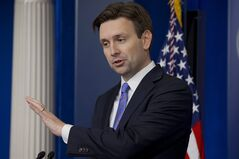 White House deputy press secretary Josh Earnest speaks during the daily news briefing at the White House in Washington, Thursday, Feb. 20, 2014. Earnest answered questions including on the deficit and the situation in Ukraine. (AP Photo/Jacquelyn Martin)