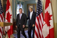 Secretary of State John Kerry holds a bilateral meeting with Canadian Foreign Minister John Baird, Friday, Feb. 8, 2013, at the State Department in Washington. (AP Photo/J. Scott Applewhite)