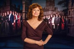 Susan Sarandon, the program host for the new season of Downton Abbey,  introduces new episodes.