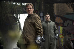 Bryan Cranston and Aaron Taylor-Johnson star in Godzilla, opening today.