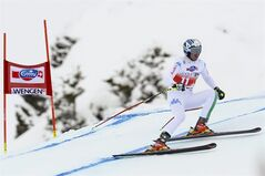 Werner Heel of Italy skis during a training session of the men's Downhill race of the FIS Alpine Ski World Cup season at the Lauberhorn, in Wengen, Switzerland, Wednesday, Jan. 15, 2014. (AP Photo/Keystone,Jean-Christophe Bott)