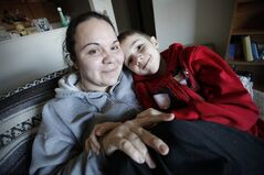 Jessica Reid spends time with her six-year-old son Nathanial in their Winnipeg apartment Friday, December 20, 2012. Reid went from foster care to drug addiction to having her son cared for by others before finding a happy ending that she traces back to one loving soul. THE CANADIAN PRESS/John Woods