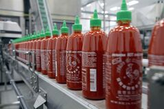 FILE - In the Tuesday, Oct. 29, 2013, file photo, Sriracha chili sauce is produced at the Huy Fong Foods factory in Irwindale, Calif. A Texas lawmaker is making a pitch to move Sriracha hot sauce production to his state from a plant in Irwindale, California, where some residents' complaints about its smell have led to city action. (AP Photo/Nick Ut, File)