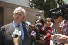 Pierce O'Donnell, Sherry Sterling's lawyer, talks to the media outside Los Angeles Superior court in Los Angeles on Wednesday, June 11, 2014. A trial has been scheduled for next month in Los Angeles probate court to determine whether Donald Sterling was properly removed as an administrator for the family trust that owns the Los Angelese Clippers NBA basketball team. (AP Photo/Nick Ut)