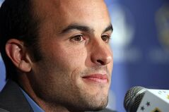 Los Angeles Galaxy forward Landon Donovan, widely considered as America's best ever footballer, announces he will retire at the end of the MLS season, at a news conference at StubHub Center in Carson, Calif., Thursday, Aug. 7, 2014.