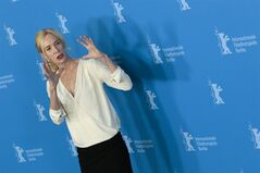 Director Feo Aladag poses for photographers at the photo call for the film Inbetween Worlds at the Berlinale International Film Festival in Berlin, Tuesday, Feb. 11, 2014. (AP Photo/Markus Schreiber)