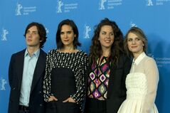 From left, actors Cillian Murphy, Jennifer Connelly, director Claudia Llosa and actress and Melanie Laurent pose for photographers at the photo call for the film Aloft during the International Film Festival Berlinale in Berlin, Wednesday, Feb. 12, 2014. (AP Photo/Axel Schmidt)