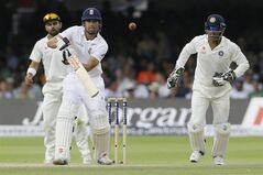 England's Alastair Cook plays a shot off the bowling of India's Ravindra Jadeja during the fourth day of the second test match between England and India at Lord's cricket ground in London, Sunday, July 20, 2014. (AP Photo/Kirsty Wigglesworth)
