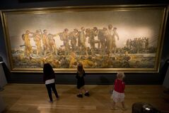 Children pose for photographs in front of the John Singer Sargent painting