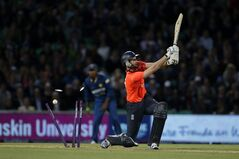 England's Alex Hales is clean bowled by Sri Lanka's Lasith Malinga during the Twenty20 cricket match between England and Sri Lanka at the Oval cricket ground in London, Tuesday, May 20, 2014. (AP Photo/Matt Dunham)