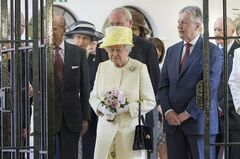 Britain's Queen Elizabeth II is seen during a visit at the Crumlin Road jail visitor attraction in Belfast, Tuesday, June 24, 2014. The Queen will also visit the set of the Game of Thrones during her visit. (AP Photo/Paul Faith, pool)