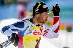 Martin Fourcade of France in action during the IBU Biathlon World Cup sprint in Holmenkollen, Oslo, Thursday Feb. 28 2013. (AP Photo/Stian Lysberg Solum, NTB scanpix)