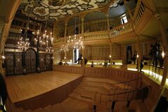 A inside view of the Shakespeare's Globe new indoor theatre Sam Wanamaker Playhouse in London, Tuesday, Jan. 14, 2014. The theatre is a reproduction of a Jacobean playhouse and it seats 340 people with two tiers of galleried seating and an historically accurate pit seating area. (AP Photo/Sang Tan)
