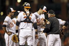 Baltimore Orioles manager Buck Showalter, right, relieves starting pitcher Chris Tillman in the fifth inning in the second baseball game of a doubleheader against the Pittsburgh Pirates, Thursday, May 1, 2014, in Baltimore. (AP Photo/Patrick Semansky)