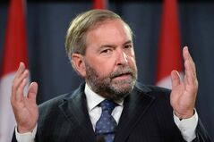 NDP leader Thomas Mulcair speaks a press conference at the National Press Theatre on Wednesday, Aug 27, 2014, to discuss the need for an inquiry on missing and murdered indigenous women.