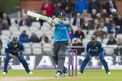 England's Ian Bell plays s shot off the bowling of Sri Lanka's Lasith Malinga during their One Day International cricket match at Old Trafford cricket ground, Manchester, England, Wednesday, May 28, 2014. (AP Photo/Jon Super)