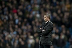Cardiff City's manager Ole Gunnar Solskjaer watches his team's 4-2 loss against Manchester City in their English Premier League soccer match at the Etihad Stadium, Manchester, England, Saturday Jan. 18, 2014. (AP Photo/Jon Super)