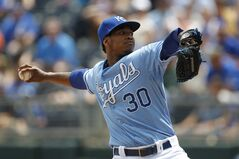 Kansas City Royals pitcher Yordano Ventura delivers against the Seattle Mariners in the first inning of a baseball game at Kauffman Stadium in Kansas City, Mo., Sunday, June 22, 2014. (AP Photo/Colin E. Braley)