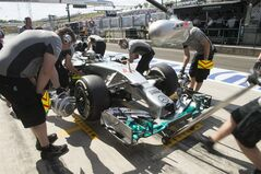 Britain's Lewis Hamilton of Mercedes waits in the paddock during the first practice session at the Hungarian Formula One Grand Prix in Budapest, Hungary, Friday, July 25, 2014. The Hungarian Formula One Grand Prix will be held on Sunday, July, 27, 2014. (AP Photo/MTI, Szilard Koszticsak)