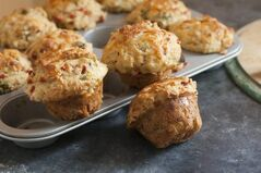 This June 9, 2014 photo shows broccoli cheddar breakfast muffins in Concord, N.H. (AP Photo/Matthew Mead)