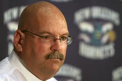 FILE - In this June 24, 2010 file photo, New Orleans Hornets general manager Jeff Bower speaks at a news conference at the Hornets practice facility in Westwego, La. A person with knowledge of the talks says the Detroit Pistons and Bower are nearing an agreement that would make him the team's general manager. The person spoke on condition of anonymity Tuesday, June 3, 2014, because the deal was not yet final. (AP Photo/Patrick Semansky, File)
