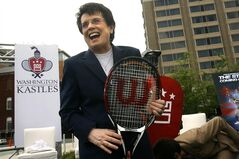 FILE - In this�April 30, 2008 file photo, Billie Jean King laughs after helping to announce the site of a new stadium to host the Washington Kastles, the newest franchise of the World Team Tennis Pro League, in Washington. King's summer tennis league just got a boost from ESPN. World Team Tennis and ESPN agreed Tuesday, June 24, 2014, to a four-year deal to stream 20 matches live annually on ESPN3 and show the final July 27 on ESPN2. (AP Photo/Jacquelyn Martin, File)