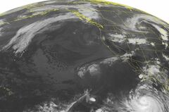 This NOAA satellite image taken Monday, Aug. 25, 2014 at 02:00 AM EDT shows Hurricane Marie about 500 miles southwest of the Baja Peninsula. Marie is a very powerful storm with maximum winds measured near 150 miles per hour. This storm will continue moving to the northwest and will not pose a threat to land. Over the western United States, a stationary front from the central Plains through the Great Basin produces rain showers and thunderstorms. (AP Photo/Weather Underground)