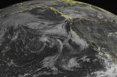 This NOAA satellite image taken Tuesday, Sept. 2, 2014 at 02:00 p.m. EDT shows newly formed Tropical Storm Norbert off of the western coast of central Mexico with maximum winds of 40 miles per hour moving north-northeast at 14 miles per hour. This storm is not currently expected to impact the coast. This image also shows lower stratiform cloud coverage along the California coast with clear skies over the southwestern United States as high pressure is pushing through the intermountain west. (AP Photo/Weather Underground)