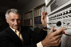 FILE - In this Aug. 25, 2009 file photo, Internet pioneer Len Kleinrock poses for a portrait next to an Interface Message Processor, which was used to develop the Internet. Kleinrock, arguably the world's first Internet user, says Facebook is fine for his grandchildren, but it's not for him. (AP Photo/Matt Sayles, File)