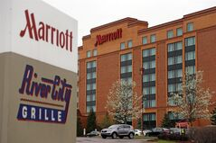 This Monday, April 28, 2014 photo shows a Marriott hotel in Cranberry Township, Pa. Marriott International Inc. reports quarterly earnings on Tuesday, April 29, 2014. (AP Photo)