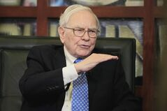 FILE - In this May 6, 2013 file photo, Warren Buffett, Chairman, President & CEO of Berkshire Hathaway, gestures during an interview with Liz Claman of the Fox Business Network, in Omaha, Neb. Berkshire Hathaway reports quarterly earnings on Friday, May 2, 2014. (AP Photo/Nati Harnik, File)