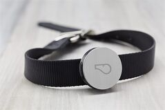 This product image provided by Whistle Labs, Inc. shows a new device, called Whistle, that lets pet owners track how much exercise _ or sleep _ their four-legged friends are getting. (AP Photo/Whistle Labs, Inc.)