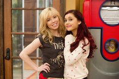 In this publicity image released by Nickelodeon, Jennette McCurdy, portrays Sam, left, and Ariana Grande, portrays Cat from the Nickelodeon series
