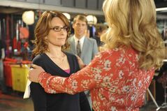 This image released by NBC shows Tina Fey as Liz Lemon, left, and Jane Krakowski as Jenna Maroney in a scene from the series finale of