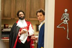 This image released by Lionsgate shows Jason Mantzoukas, left, and Paul Rudd in a scene from