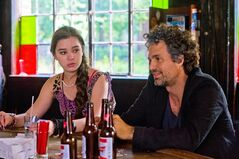 This image released by The Weinstein Company shows Hailee Steinfeld, left, and Mark Ruffalo in a scene from