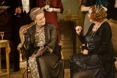This undated publicity photo provided by PBS shows Maggie Smith as the Dowager Countess, left, and Shirley MacLaine as Martha Levinson from the TV series,