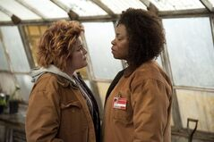 "This image released by Netflix shows Kate Mulgrew, left, and Lorraine Toussaint in a scene from ""Orange is the New Black,"